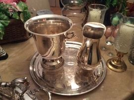 Silver plate ice bucket and pitcher