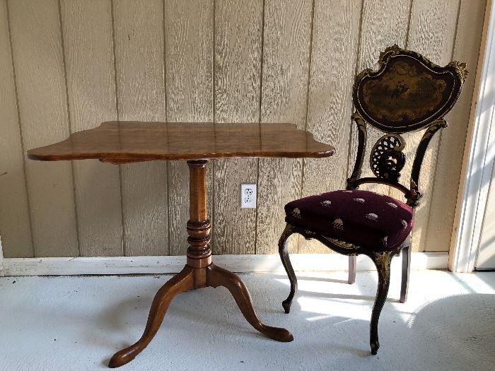 19th century tilt-top with hand painted 19th c. French chair