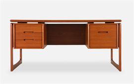 Danish, MCM, Dyrlund desk -- shelves on opposite side