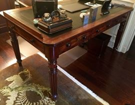 "Regency Mahogany Writing/Reading Table, English c.1835, w/ Black Embossed Leather Top, (60"" x 36"" x 32"")"