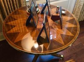"Pair of 30"" Round Starburst Inlay Tables w/ Brass Detail & Claw Feet. 28"" Ht.,"