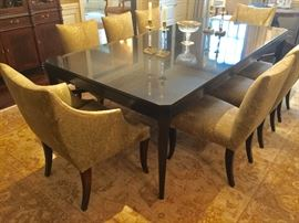 "8 Donghia Upholstered Dining Chairs, 6 Side, (21"" x 22"" x 36"") & 2 Arm (26"" x 28"" x 36"")                                                      Nancy Corzine Granite Top Dining Table, (96"" x 48"" x 30"")"