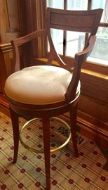 "Pair of Century Mahogany Bar Stools w/ Ultrasuede Seat, (23"" x 26"" x 45"")"