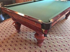 1890's Billiards Table, 50 x 100 Pocket. Narrangsett Model, Made from Quarter Sawed Golden Oak Wood w/Vermont Slate Rails, American Walnut Pockets, Black Twin Cut w/Shields and Dark Spruce Cloth