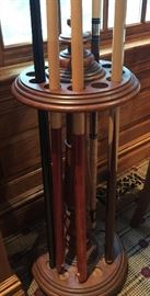 "Antique Oak Cue Floor Stand w/ Original Finish, (14"" x 62"") includes 6 Sticks"