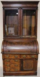 Antique walnut cylinder secretary