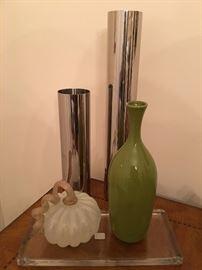 Misc. Glass Pumpkin Decor. Metal Vases. Ceramic Vase. Family Heritage Estate Sales, LLC. New Jersey Estate Sales/ Pennsylvania Estate Sales.