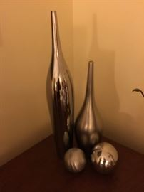Metal Vases and Spheres Decor. Family Heritage Estate Sales, LLC. New Jersey Estate Sales/ Pennsylvania Estate Sales.