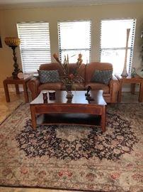 Leather Sofa and oak coffee table