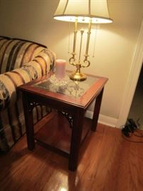 Pair of Lane end tables and Stiffel lamps