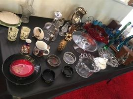 Old ash trays, vintage cut glass & crystal, trivets, candy bowls, silver plate & more...
