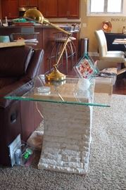 One of four glass top end and coffee tables.
