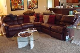 Thomasville leather sectional sofa.