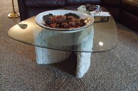 One of four glass top tables.