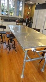 Industrial style pipe fit work table