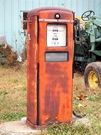 "Antique Gilbarco Gas Dispenser / Pump, Porcelain Calco-Meter Face Plates, Original Fuel Bubble, Bright Clear Graphics, 58""Tall, 31 Cents/Gallon"