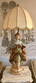 LARGE Figural Lamp Featuring Victorian Woman, Silk Shade & Prisms