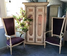 Gorgeous High Back Hollywood Regency Purple Velvet Arm Chairs