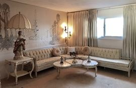 Gorgeous Vintage Hollywood Regency - French Provincial Three Piece Sectional Sofa