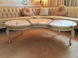 Vintage French Provincial Marble Top Coffee Table
