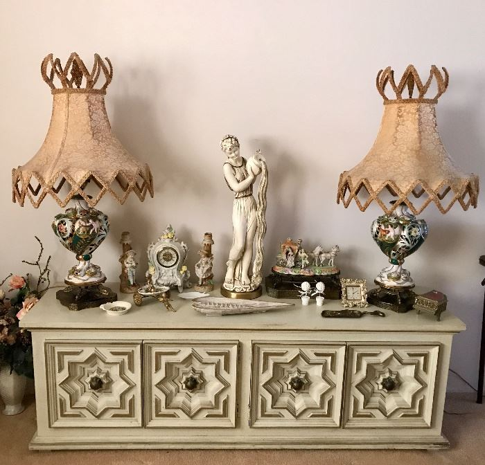 Vintage Low Hollywood Regency Cabinet Console, Large Capodimonte Lamp Paid, Statuary & More