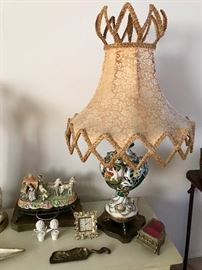 Vintage Capodimonte Lamp, Vintage Victorian Ceramic & Brass Figural Light, Piano Music Box & More