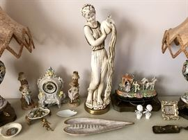 Vintage Stuary, German Cermic clock, Figural Candle Sticks & More