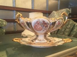 Vintage compote with matching dish