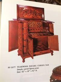 Teakwood square corner bar deeply carved figures scene