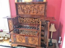 antique teak wood bar cabinet