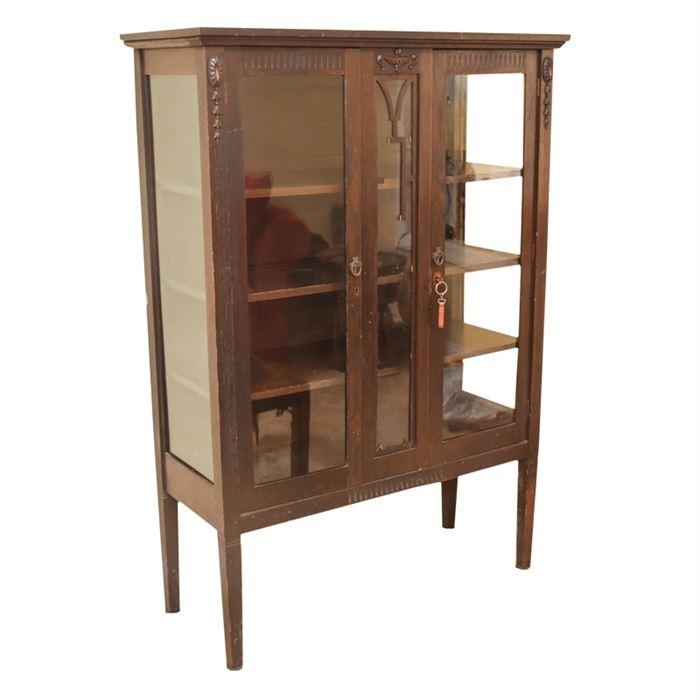 Antique Adams Style China Cabinet: An Antique Oak China Cabinet With Adams  Style Carved Detail. The Flat Top With Molded Edge, Is Above Two Glass  Sidelights ...