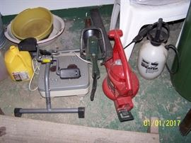 Sprayer, Leaf Blower, small Hedge Trimmer, foot exerciser & misc. in the Garage