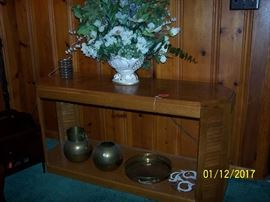 Sofa Table. brass Pots, Floral Vase