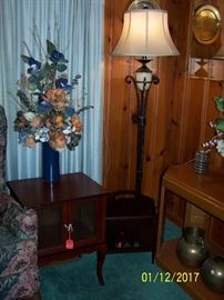 Floor Lamp, End Table, Floral Vase