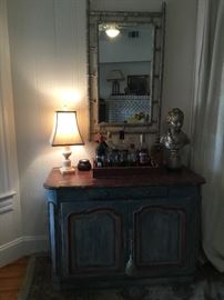 Blue painted French Provençal sideboard, faux marble top, bamboo mirror, silver bust.
