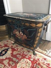 Beautiful antique hand painted coal bin.