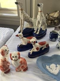 Reproduction Staffordshire dogs.  Larger pair are Maitland Smith.