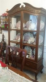 "ANTIQUE COUNTRY FRENCH CHINA CABINET...SET OF ROYAL DOULTON ""MIRAMONT"" CHINA"