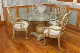 "54"" diameter Beveled Glass Top Pedestal Dining Table and 4 Cream Color Carved wood Chairs  750.00"