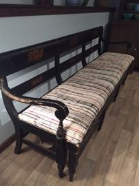 Rare painted Victorian bench with pull out platform bed