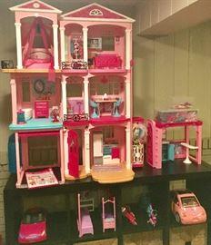 Barbie doll house, 2 cars, 1 van, dolls, Clothes