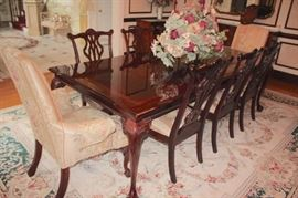 Banded Dining Room Table & 10 Chairs - in Great Condition with Handmade Safavieh Rug