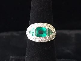 Antique emerald and diamond ring  size 5  Reg. $6500.  Sale  $3950.