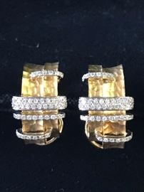 18 kt gold earrings with diamonds Reg $4200. Sale $2500.