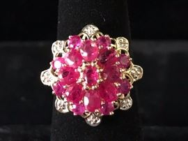 Ruby and diamond ring  size 6.