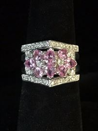 Pink sapphires and  diamonds in white gold. Size 6 Reg. $1020. Sale $695.