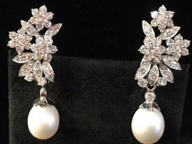 Gorgeous diamond and pearl earrings