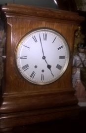 ENGLISH OAK BRACKET CLOCK - CHIMES ON 9 BELLS