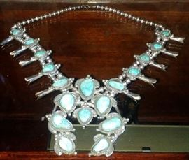 NATIVE AMERICAN SILVER & TURQUOISE SQUASH BLOSSOM NECKLACE - BOBBY PIASO - KINGMAN TURQUOISE