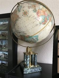 Beautiful Globe on Marble and Brass Stand
